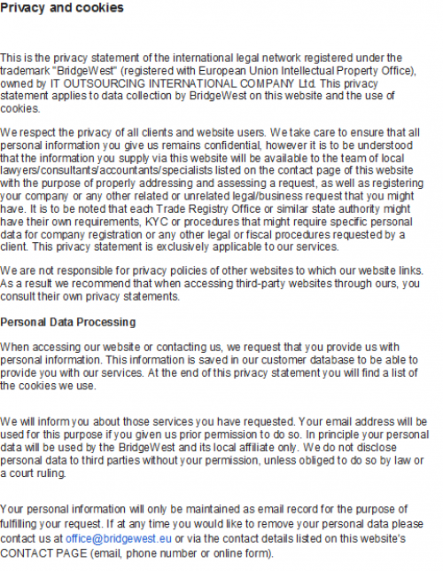 privacy policy 1 FR